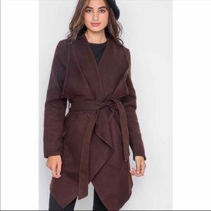 Jackets & Blazers - NWOT Chocolate Fleece long-sleeve Fall Coat